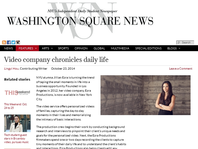 Ezra Productions write-up in Washington Square News