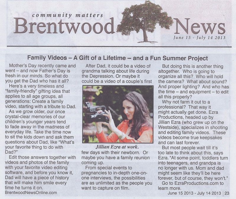 Ezra Productions was mentioned in Brentwood News community newspaper.