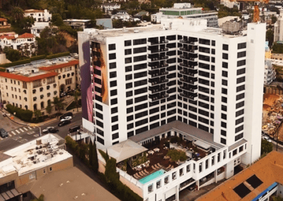 Drone shot of the Mondrian West Hollywood