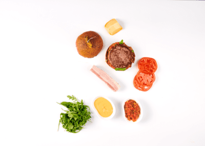 Commercial Photography of The Frenchie Burger Ingredients