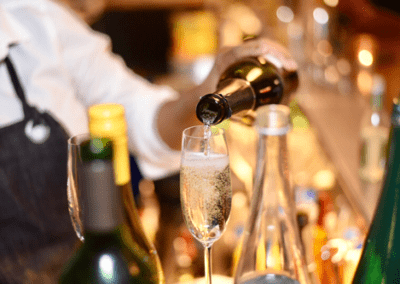 Champagne Flowing Promotional Event Photography